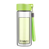 便携带茶隔玻璃杯 糖果色创意情侣水杯子 双层隔热玻璃水杯泡茶杯 350ml 米白 280ml 草绿色