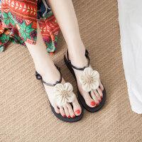 波西米亚花朵凉鞋女夏甜美平底百搭海边平跟沙滩鞋女 txe-0016 亚麻花
