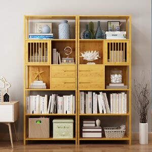 幽咸家居 简易书架置物架实木组装多层落地简约现代收纳架学生书柜储物柜子