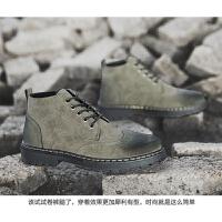 2019新品马丁靴男高帮短靴潮黑色工装鞋英伦风百搭中帮沙漠男靴