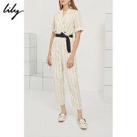 【6/4-6/8 一口价:369元】 Lily夏女装简约条纹收腰撞色腰带短袖连体裤119210C7545