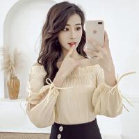 夏季新款韩版性感一字肩露肩上衣女修身显瘦长袖绑带洋气衬衣