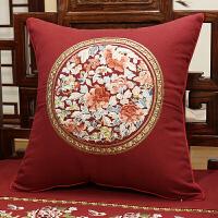 中式棉麻刺绣花靠垫抱枕沙发抱枕靠垫套大靠背枕腰枕含芯美式定制