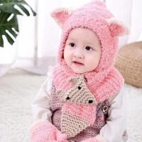 秋冬儿童宝宝毛线帽护耳帽针织帽男女童珊瑚绒保暖帽婴儿套头帽子 粉红色 三件套 珊瑚绒耳朵套头帽 均码