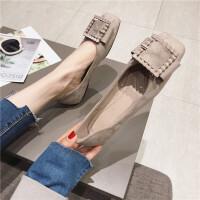 气质单鞋女2019春季新款时尚方头绒面浅口单鞋简约通勤单鞋女鞋