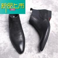 新品上市欧美靴男士休闲高帮皮鞋男尖头真皮男靴英伦马丁靴软皮短靴 黑色