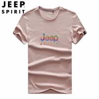 吉普(JEEP)短袖男士T恤 圆领T恤上衣服潮流 印花半袖T恤 2019新品薄款男装打底衫