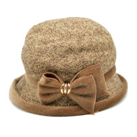 毛呢礼帽毛呢帽子圆顶韩版中老年人帽子女爵士帽子帽子老人帽