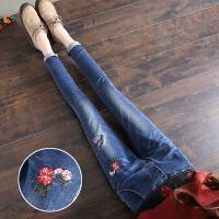 牛仔裤女九分裤春季裤子学生松紧腰绣花小脚裤