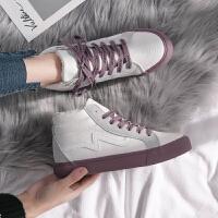 高帮鞋2018鞋子冬女加绒帆布鞋百搭小白鞋学生韩版