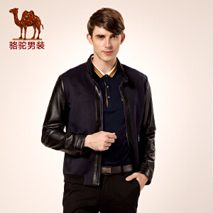 骆驼男装 新款秋季青年拼接立领休闲拉链青春时尚外套夹克男