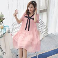 孕妇夏装连衣裙2018新款V领韩版中长款裙子夏季宽松潮妈雪纺上衣