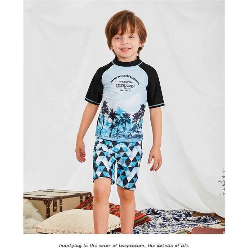 儿童泳衣 男童泳裤套装男孩分体小中大童时尚拼色游泳衣宝宝