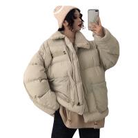 新年礼物冬装韩版中长款立领拼接仿羊羔毛棉衣学生宽松加厚棉袄外套女 均码