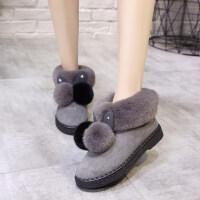 可爱厚底棉鞋女冬季加绒小短靴2018保暖居家毛毛绒雪地靴