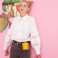【秒杀价:142】【再享满499减50券】妖精的口袋白衬衫女设计感小众2019秋季新款宽松长袖镂空蕾丝上衣