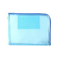 KOKUYO国誉A5单面透明文件袋两边打开式资料袋票据整理拉链袋便携收纳袋蓝色WSG-KUK131B当当自营