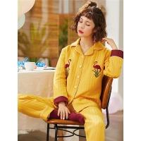 孕妇睡衣秋冬季春秋产后哺乳睡衣家居服套装厚空气棉夹层月子服