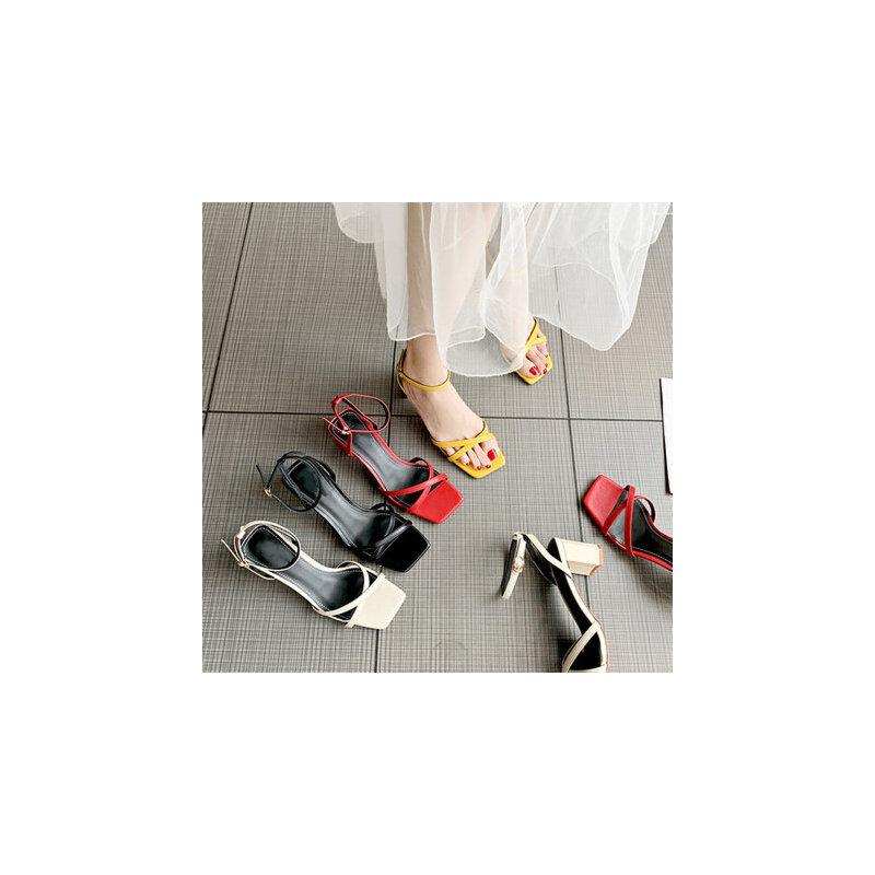 新款百搭女士凉鞋露趾一字扣带中跟凉鞋 时尚温柔chin少女高跟鞋粗跟凉鞋女 品质保证 售后无忧