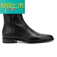 新品上市短靴男真皮尖头C 欧美手工低帮个性新款潮马丁靴