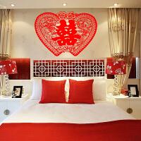 大号红喜字婚房装饰双心形墙贴 创意结婚压床头贴新房布置婚庆绒布 大号喜字495#