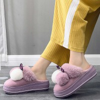 坡跟拖鞋女冬厚底可爱家用包跟室内保暖防水防滑毛毛绒增高棉拖鞋