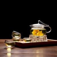 耐热玻璃花茶壶飘带壶三件式过滤内胆泡茶壶玻璃压把茶壶咖啡壶水杯杯子