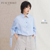 蓝色条纹衬衫女韩范2019春季新款长袖飘带套头上衣女小清新娃娃衫