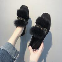 BANGDE秋季毛毛鞋女冬外穿单鞋女中跟2018新品韩版百搭方头粗跟复古鞋
