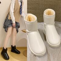 雪地靴女皮毛一体短筒秋冬舒适平底加绒加厚保暖时尚韩版