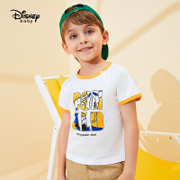 【99元3件】迪士尼童装儿童男童纯棉落肩短袖T恤2020夏新款宝宝上衣休闲运动