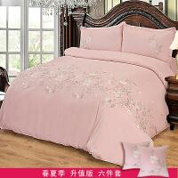 全棉刺绣被套四件套欧式秋冬款绣花全棉床单枕头套床上用品定制