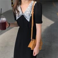 新款连衣裙 2019夏季新款韩版修身蕾丝娃娃领黑色雪纺高腰女裙连衣裙 黑色 均码