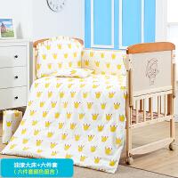 双层实木婴儿床拼接大床新生儿童床多功能宝宝床摇篮床中床双胞胎 +六件套