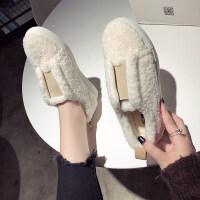 毛毛鞋百搭板鞋平底小白鞋女鞋2018秋冬新款加绒棉鞋女单鞋松糕底