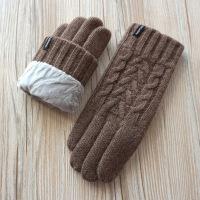 秋冬季男情侣款纯羊毛加厚针织保暖骑行触摸屏手套 均码
