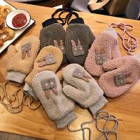 连指手套女冬韩版日系保暖可爱卡通加绒ins少女软妹学生冬天骑行
