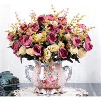 北欧式客厅仿真花摆件 餐桌茶几绢花摆设假花装饰品干花盆栽花艺 乳白色 5小欧玫旧红+D瓶