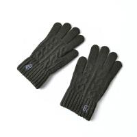 韩版毛线手套男冬保暖薄款游戏五指可触屏手套冬天男学生