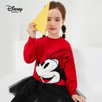 年��【秒��r:65元】迪士尼秋新款女童��套�^毛衣米妮卡通保暖上衣潮