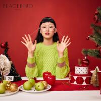 羊毛圣诞毛衣女2019新款冬荧光绿色圆领套头绞花很仙针织衫太平鸟