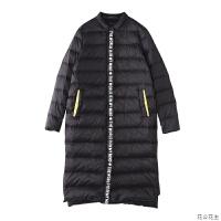 2018冬装新款黑色羽绒服女中长款无帽翻领韩版时尚轻薄外套 X