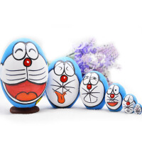 俄罗斯娃娃套娃卡通木质玩具手绘哆啦A梦6六层套娃创意生日礼品