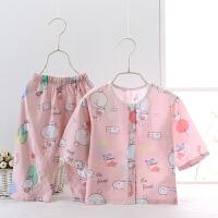 儿童睡衣夏季中大童男童睡衣小孩空调服家居服人造棉薄款长袖套装