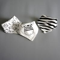 宝宝纯棉三角巾婴儿口水巾双层新生儿围嘴可调节围兜三条