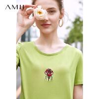 【到手价:61元】Amii小清新圆领绣花牛油果绿色T恤女装2019新款潮抹茶绿短袖上衣