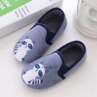 秋冬男儿童拖鞋宝宝女孩软底防滑包跟浣熊居家用室内地板幼儿园鞋 蓝色 小浣熊