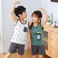 儿童套装 男女童休闲卡通动物背心短裤2020夏季新款中小童翻领两件套