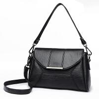 中年女包妈妈包新款包包单肩包斜挎包手提包斜跨包小方包欧美 黑色(赠送长短肩带) 1724#