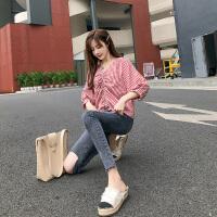 卡贝琳女2019新款秋装韩版格子衬衣女复古港味红色小衫V领心机上衣设计感